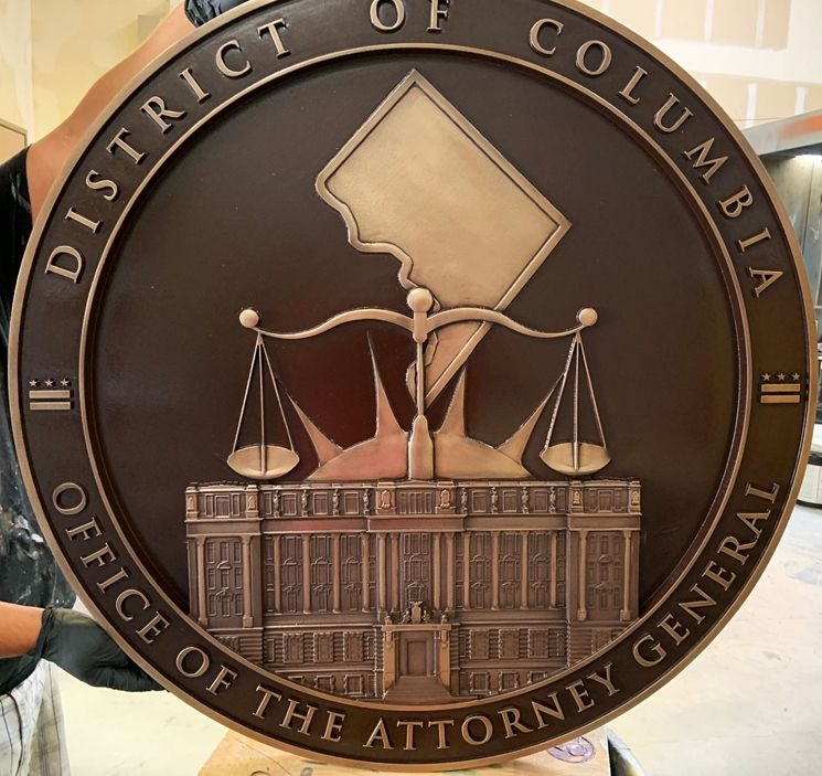 GP-1420 - Carved Plaque of the Seal of the Office of the Attorney General, District of Columbia,3-D Bronze-Plated