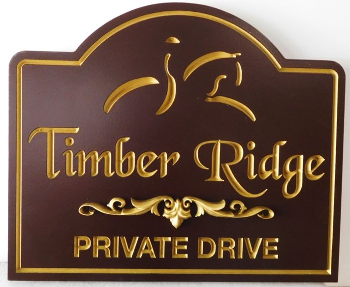 """P25312 - Carved HDU Entrance sign for  """"Timber Ridge""""  with  a  Stylized Engraved  silhouette of a Horse and Rider,"""
