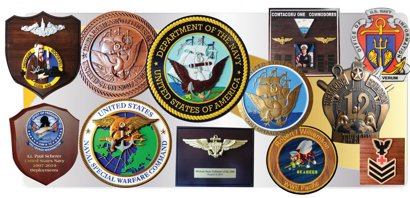 572424dc 1 - Shown above are different styles of our dimensional wall plaques for  the US Navy. Most of the plaques shown are carved in 3-D bas-relief, ...