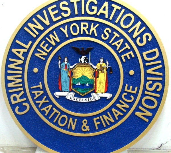 W32375 - 2.5D Carved HDU Wall Plaque for the Criminal Investigations Division, State of New York