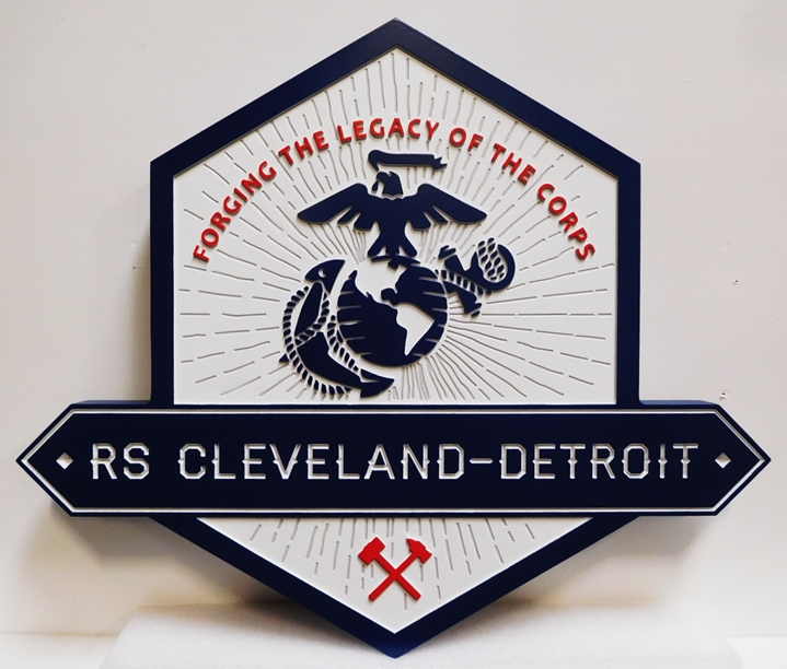 KP-2290 - Carved Plaque for the Marine Corps Recruiting Station, Cleveland-Detroit, 2.5-D Artist-painted