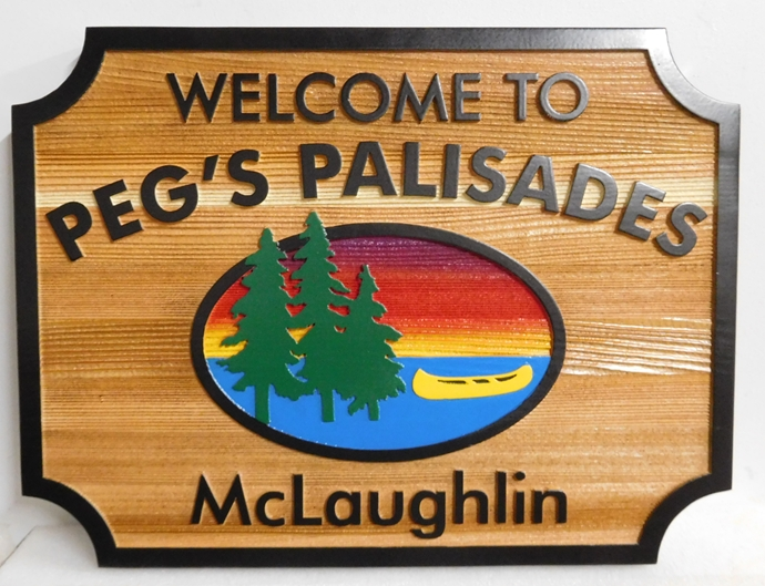 "M22378 - Western Red Cedar Lake House Name Sign ""Peg's Palisades"""