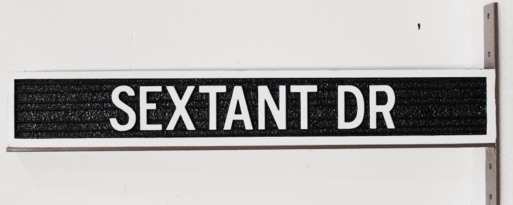 H17090 - Carved and Sandblasted Wood Grain  2.5-D HDU Street Name Sign for Sextant Drive, with Steel Side Bracket for Mounting to a Post