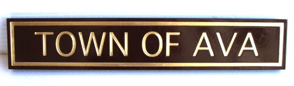 F15100 - Sandblasted, Carved HDU Sign with Name of Town and Raised Metallic Border