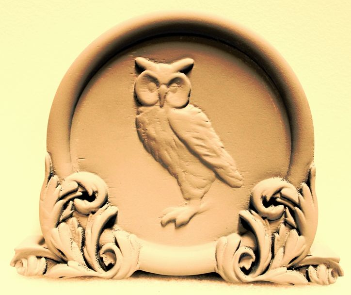 YP-1212 - Carved 3-D HDU Plaque of an Owl