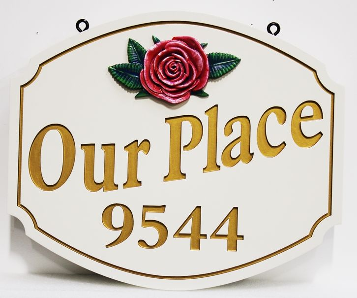 I18215 - Carved and Sandblasted 2.5-D Address Sign, with White Flower