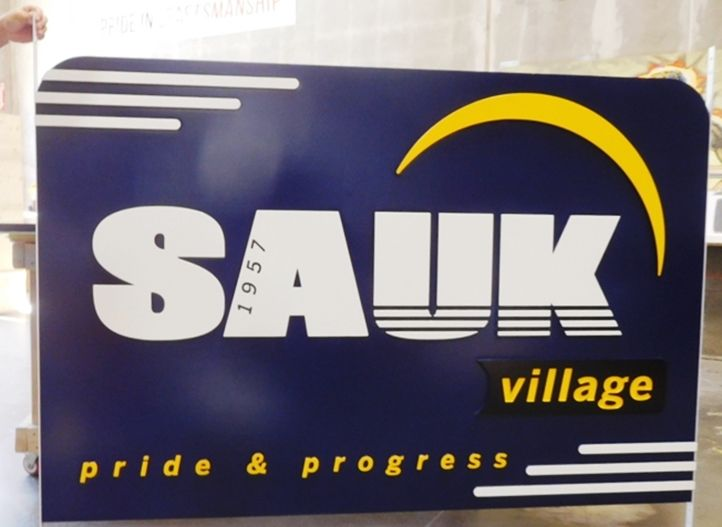 F15387 -Large Carved HDU  Entrance Sign for Sauk Village, Illinois, 2.5-D Raised Relief,Artist-Painted with Village Logo as Art