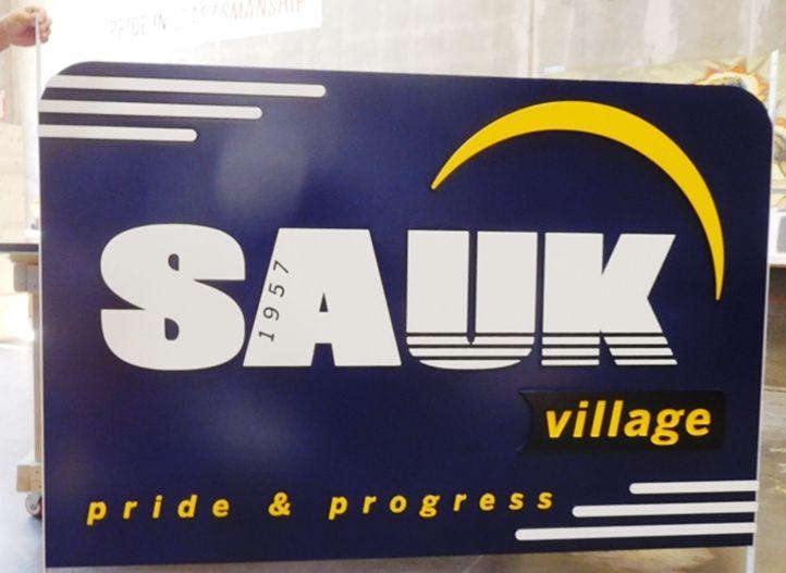 F15387 -LargeCarved HDU  EntranceSign for SaukVillage, Illinois, 2.5-D Raised Relief,Artist-Paintedwith Village Logo as Art