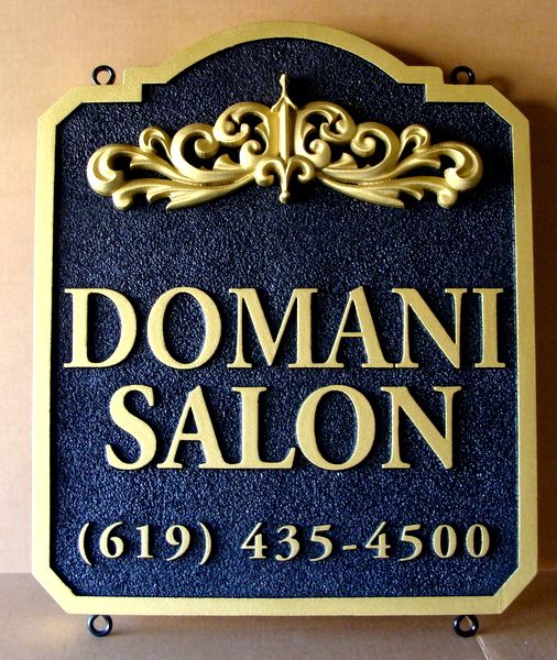 SA28015 - HDU  Sign with 3-D Decorative Scroll and 24K Gold-Leaf Gilt for Salon