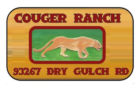 O24604 - Wooden Sign for Cougar Ranch with Carved Wood Cougar