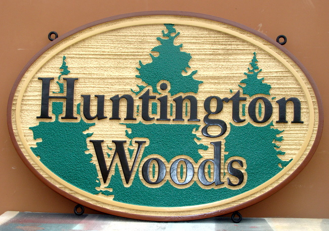 K20115 - Carved Wood Hanging  Sign for Huntington Woods Apartments with Carved Pine Trees