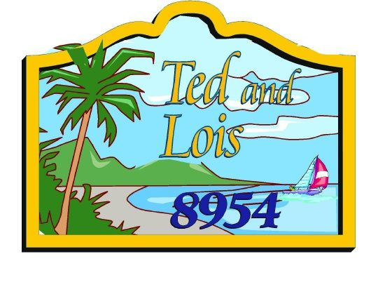 L21120 - Design for Address Sign for Tropical Beachfront Residence with Ocean, Beach, Mountains, Palm Tree and Sailboat