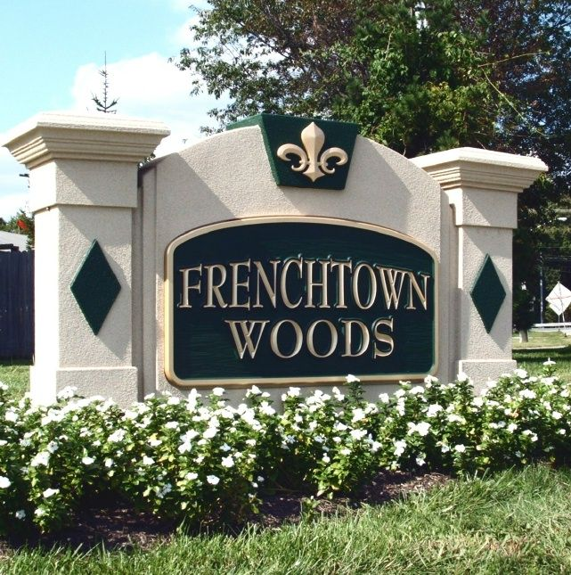 K20044 - EPS Monument Sign for Residential Community, with  Carved 3-D Fleur-de-Lis