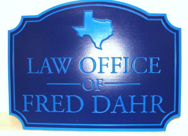 A10120A - Engraved HDU Law Office Sign, with Texas Image