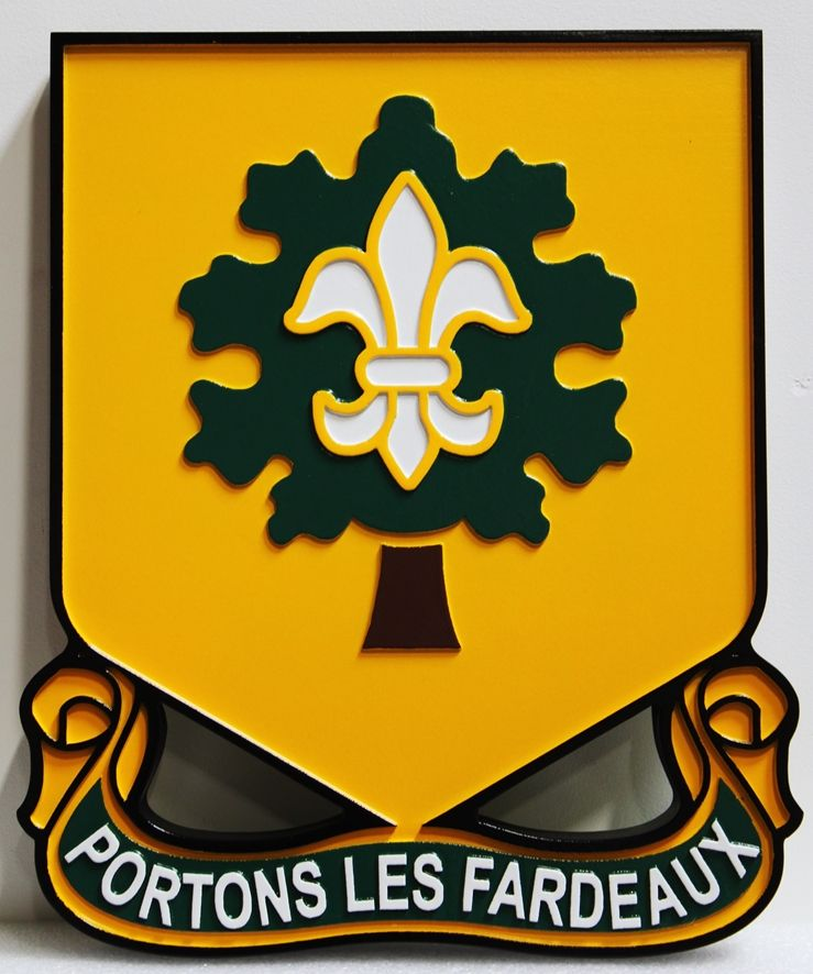 "MP-2050 - Carved HDU Wall Plaque of the Crest of the 101st Support Battalion, US Army,with Motto  ""Portons Les Fardeaux"" (Carry the Burden)"