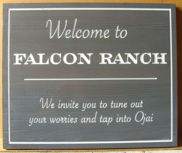 024049 – Carved  Engraved Cedar  Welcome Sign for Falcon Ranch, in Ojai, California
