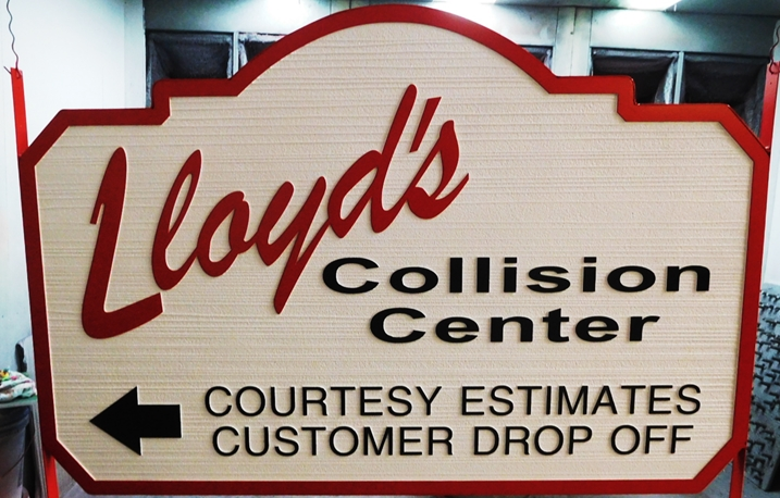 "S28101- Large Carved and Sandblasted Wood Grain  HDU Commercial Sign made for ""Lloyd's Collision Center"", 2.5-D Artist-Painted"