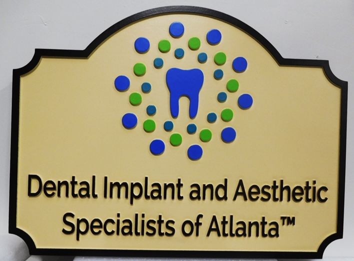 "BA11523 - Carved HDU Sign for the Office of ""Dental Implant and Aesthetic Specialists of Atlanta"", 2.5-D raised Relief, Artist-Painted"