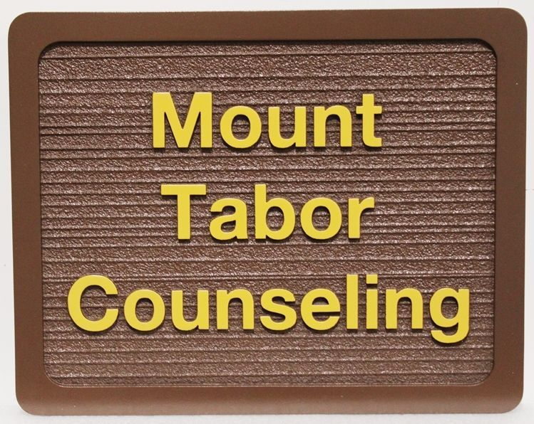 SA28856 - Carved and Sandblasted Wood Grain HDU Sign for Mount Tabor Counseling
