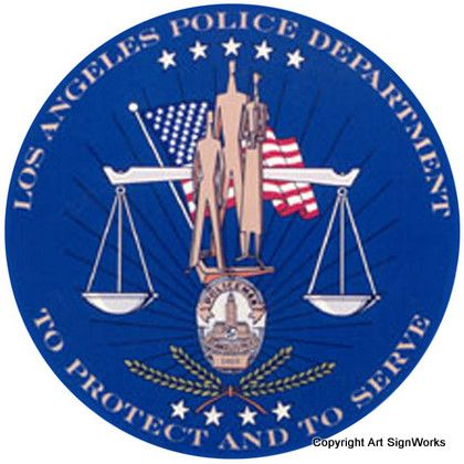 X33634 - Los Angeles Police Seal Carved Wood Wall Plaque