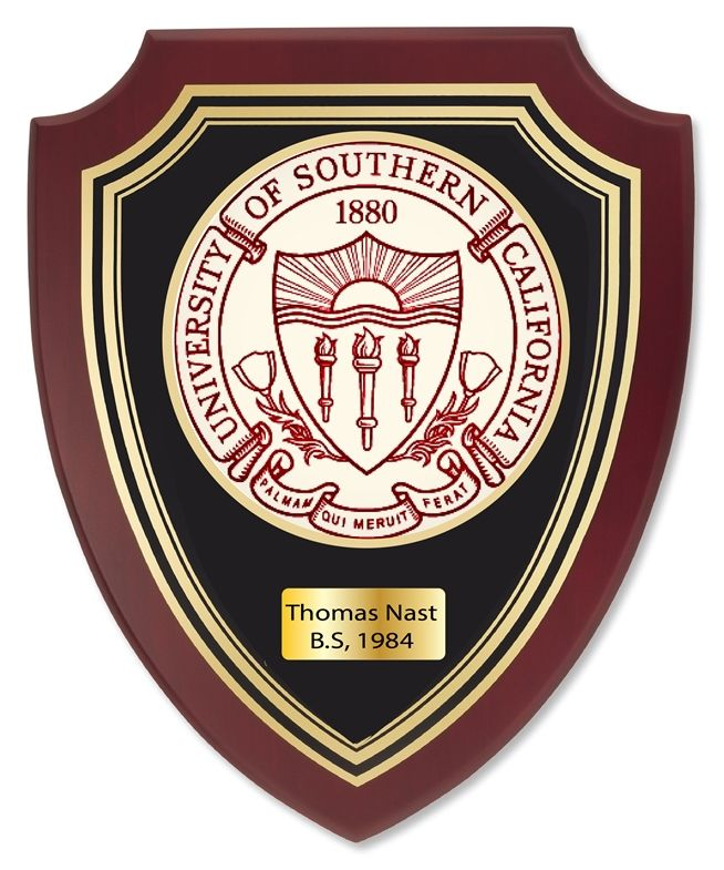RP-1960- Carved Shield Wall Plaque of  the Seal of University of Southern California (USC), Artist Painted on Mahogany Wood, Brass Nameplate