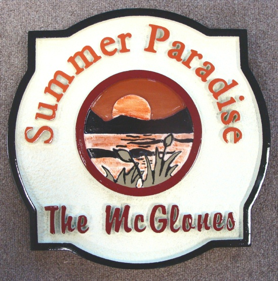 "M22316 - Carved HDU Sign for Summer Home ""Summer Paradise"" with Lake, Mountains and Sun"