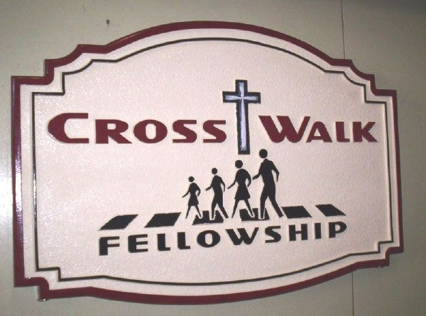 D13050 - Carved HDU Sign for Crosswalk Fellowship Church with Cross and People Walking
