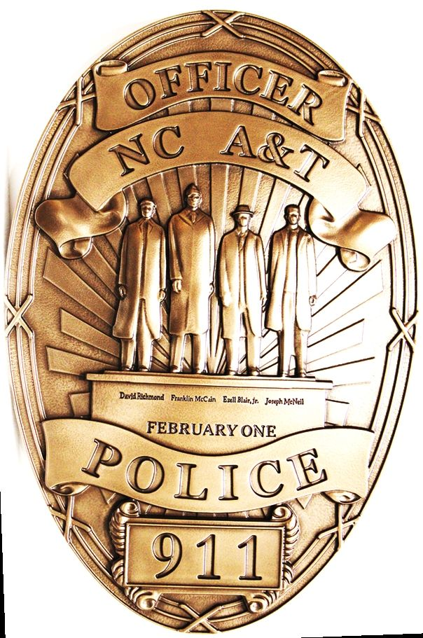 PP-1467 - Carved 3-D Bas-Relief Bronze-Plated HDU Wall Plaque of the Badge of the Police Department of North Carolina A & T State University