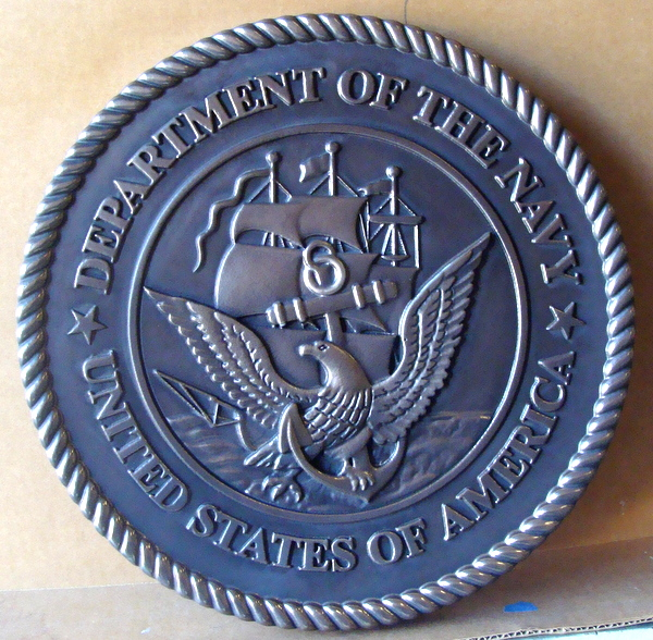 31219 – Carved 3-D Wall Plaque of the Great Seal of the United States Navy (nickel-silver coating)
