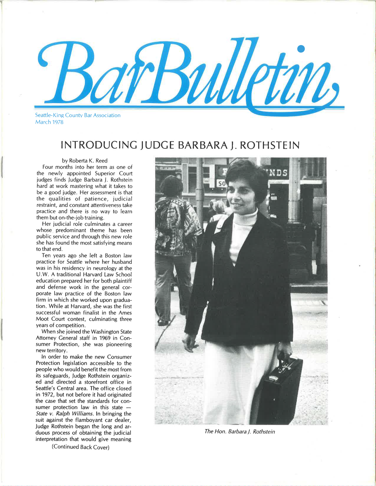 Justice Rothstein, featured in the Bar Bulletin, March 1978.