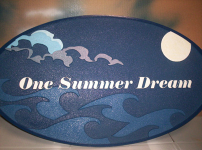 M1144 -Welcome/address/property name plaque with full moon, clouds, and dark sea (Gallery 20)