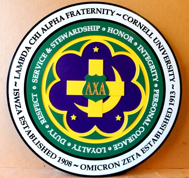 SP-1460 - Carved Wall Plaque of Lambda Chi Alpha College Fraternity Emblem,  Artist Painted
