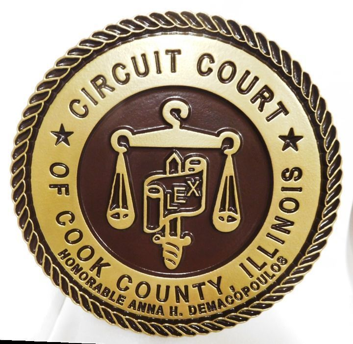 HP-1045 - Carved Plaque of the Seal of the Circuit Court of Cook County, Illinois, 2.5-D , Painted Metallic Brass