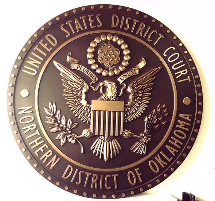M7004 - 3-D Bronze-plated Plaque fora Courtroom of the US District Court of the Northern District of Oklahoma.