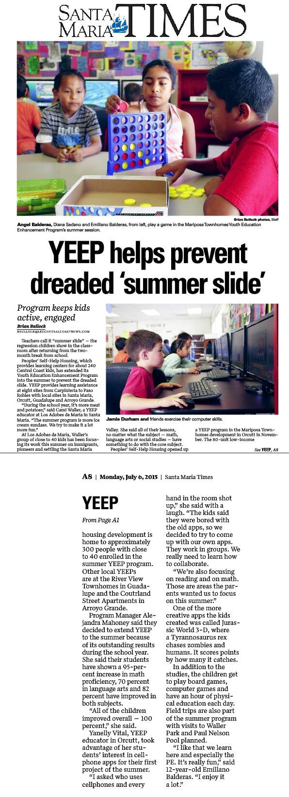 YEEP helps prevent dreaded 'summer slide' - Santa Maria Times