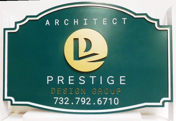 S28109 - Carved HDU Sign for the Prestige Design Group, an Architectural Firm, 2.5-D Multi-Level Relief, Artist-Painted with Logo Artwork