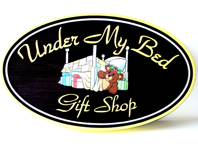 SA28342- Design for a Gift Store Sign with Teddy Bear and Presents