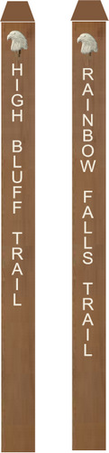 G16130 - Redwood Engraved Trail Markers with Carved 3D Eagle Heads
