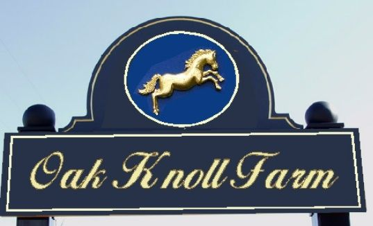 """P25007- Carved HDU """"Oak Knoll Farm"""" Sign with 3-D image of Rearing Horse"""