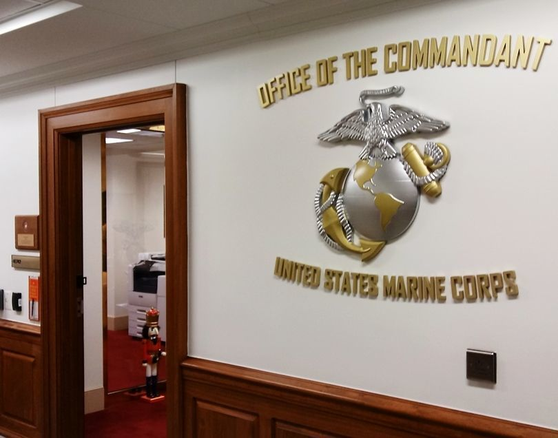 V31400 - Globe-and-Anchor Brass and Aluminum-Plated Plaque and Letters  for the Pentagon Office of the Commandant of the Marine Corps