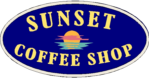 "Q25412 - Design of Wood or HDU Sign for ""Sunset Coffee House"" with Setting Sun"