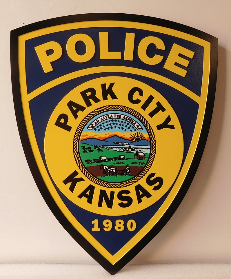 X33461 -Carved and Engraved  Wall Plaque of the Shoulder Patch of the Park City Police Department in Kansas