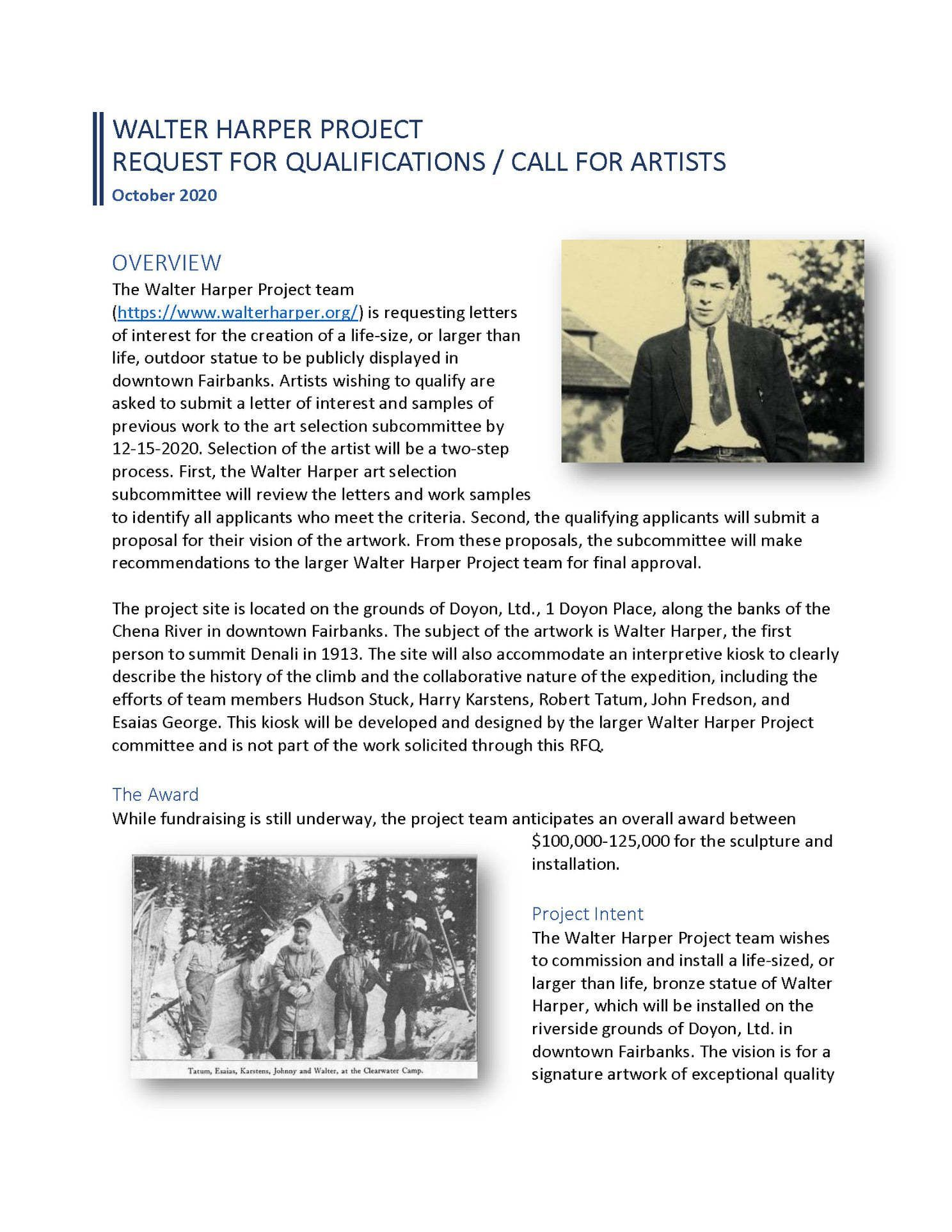 Walter Harper Project Call to Artists