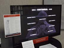 Digital World War I display showing at Cultural Heritage Center