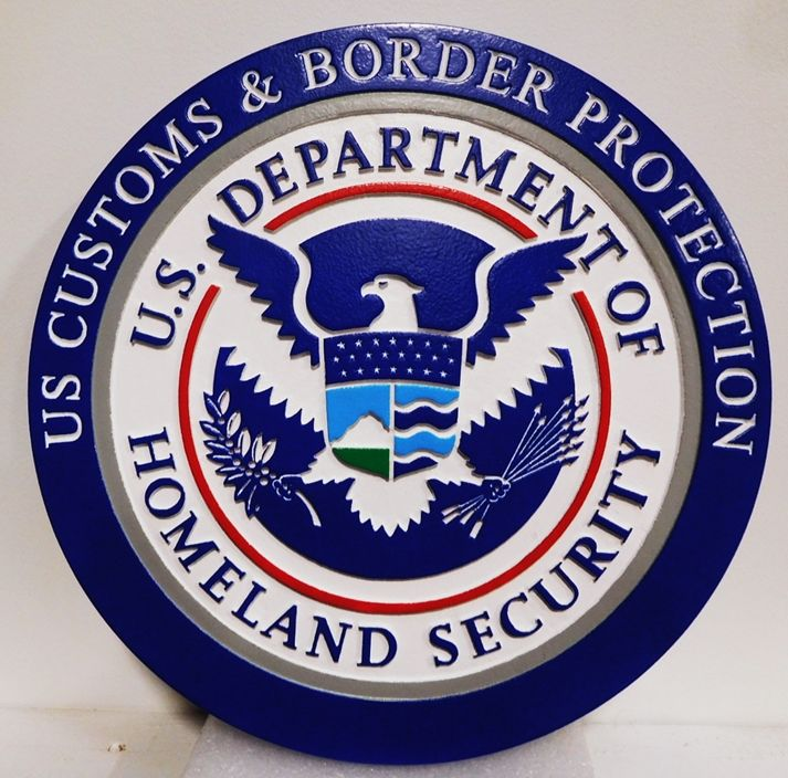 AP-4030 - Plaque of the Seal of the US Customs & Border Protection, US Department of Homeland Security, 2.5-D Artist Painted