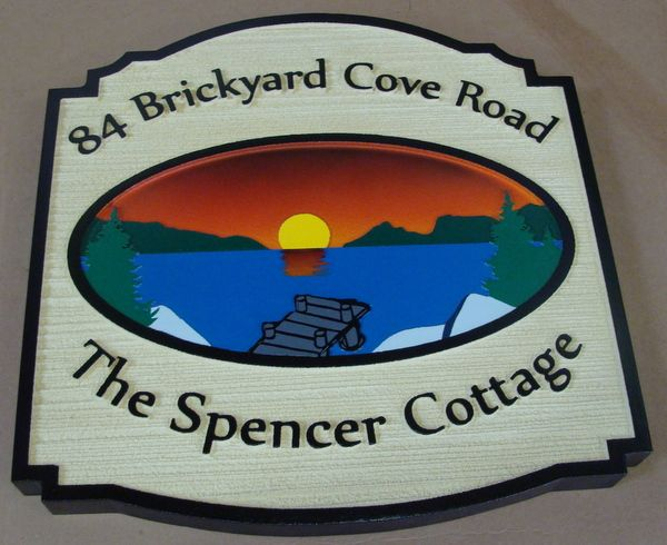 M22304 - Carved and Sandblasted Lake Cottage Address Sign, with Lake, Dock and Setting Sun
