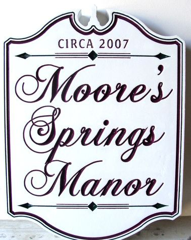 I18011 - Carved Wood Property Name Sign for Moore's Spring Manor House, Colonial Style