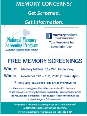 Call Today to Schedule your Free Memory Screening