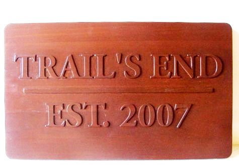 "G16124 - Carved Mahogany ""Trail End"" Sign"