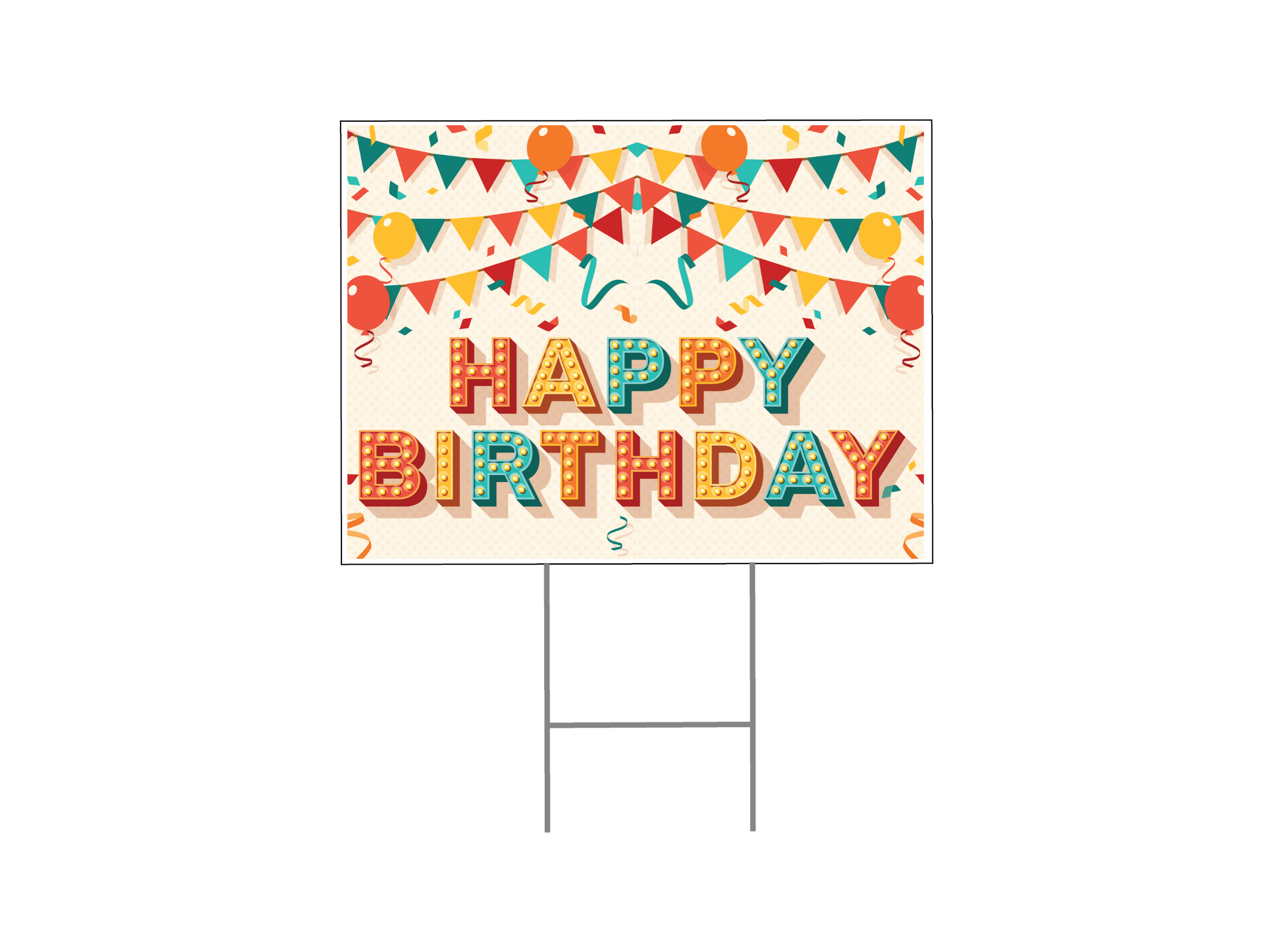 Happy Birthday Yard Sign - Retro Letters
